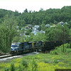 SD80MAC 0804 leading coal empties into Grafton, WV. 2000.