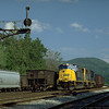 Two SD70MACs on westbound empties at Z Tower, Keyser, WV. 2000.