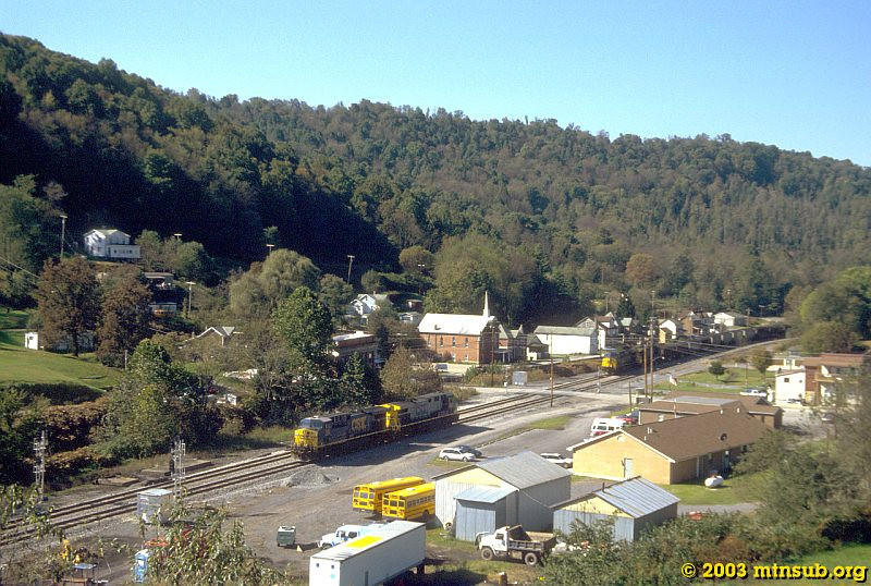 Coal drag passing through Newburg, WV. 2003.