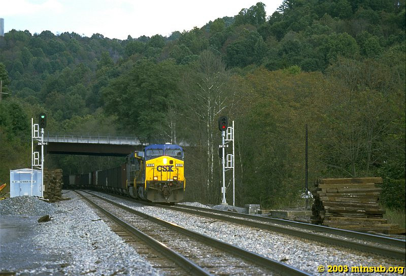 Westbound empties at Newburg. 2003.