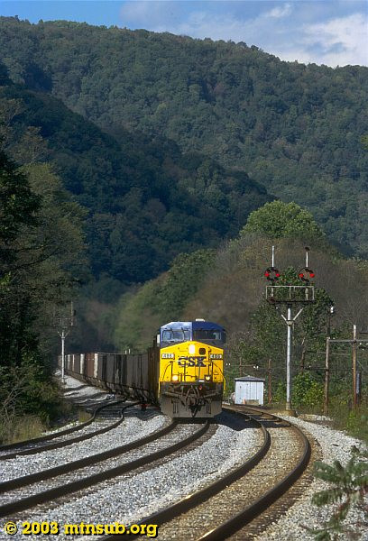 Westbound empties at McMillian, WV. 2003.