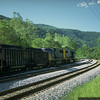 The drag leaving M&K Junction with the two SD70MACs as head-end power. Mc Millian, WV. 2000.