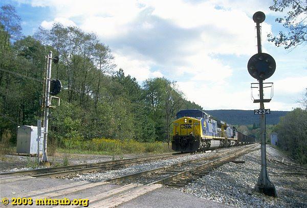 Westbound empties passing Altamont. 2003.