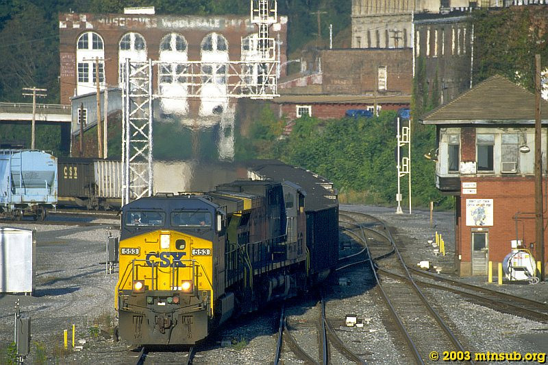 Coal drag off the Cowen Sub entering Grafton, WV. 2003.