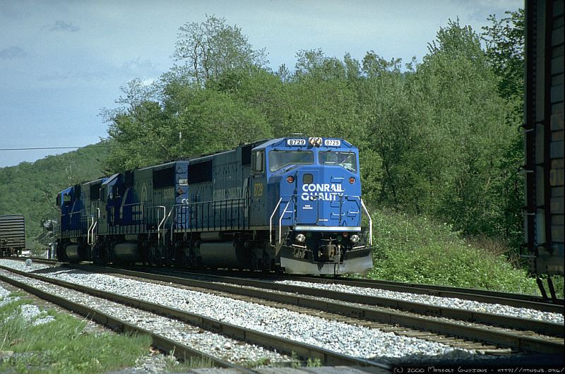 Q316 setting out the mid-train helpers at Hopemont east of Terra Alta, WV. 2000.