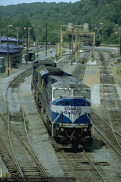SD80MAC 0804 and C40-9W 9033 in the engine service facility in Grafton, WV. 2000.