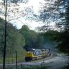 Westbound empties decending Cranberry Grade. 2003.