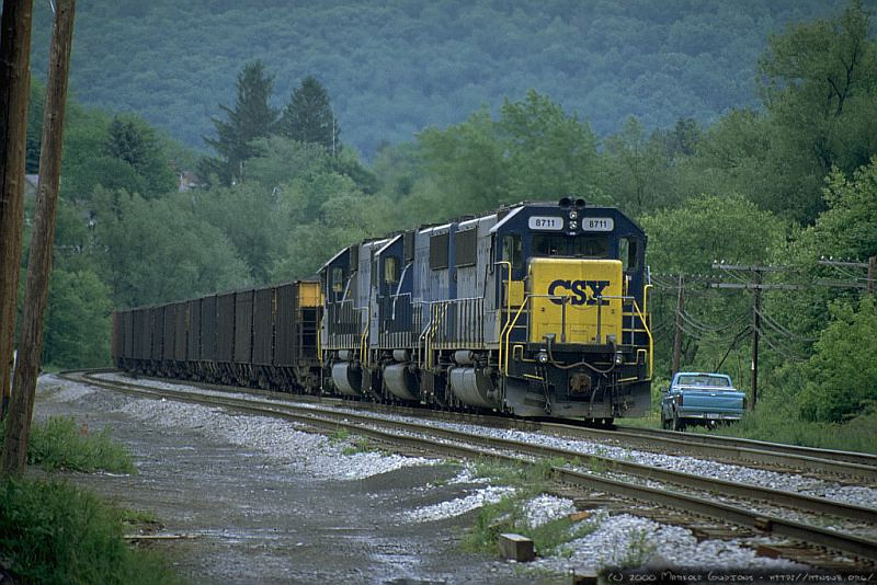 Pushers on an eastbound drag at Terra Alta, WV. 2000.