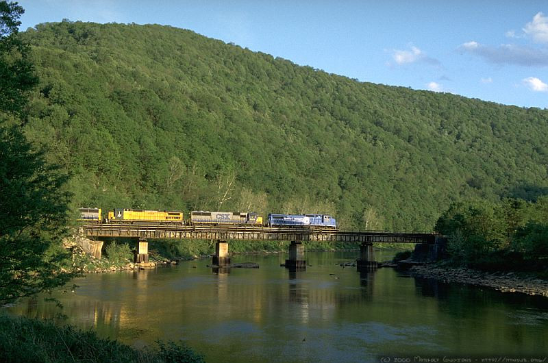Q317 crosses the Cheat River in Rowlesburg, WV. 2000.