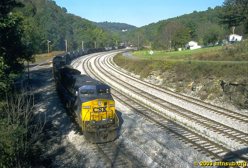 Coal drag leaving East Grafton, WV. 2003.