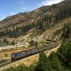 Amtrak #5, the westbound California Zephyr, rounds the sweeping curve at Floriston, CA.