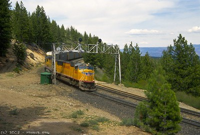 An eastbound autorack train rolls downgrade through the S-curves at Andover, CA.