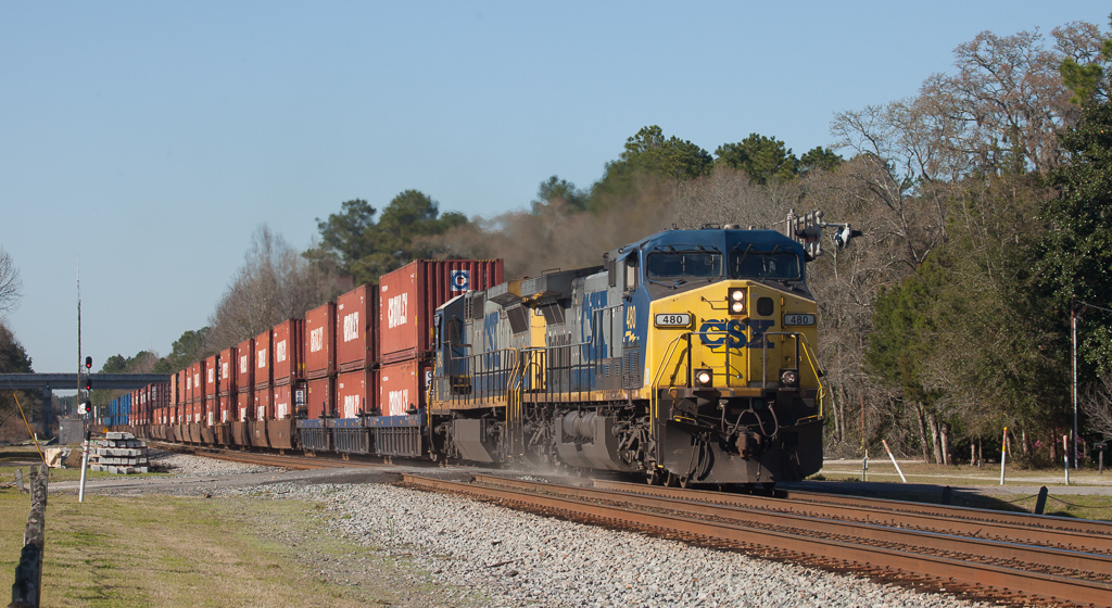 Southbound stack train in Folkston, Ga.