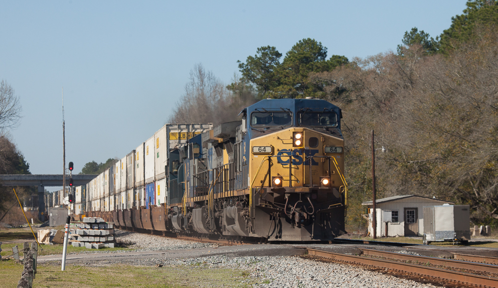 Eastbound stack train in Folkston, Ga.