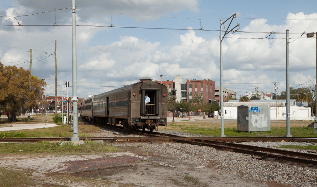 Amtrak backing into Tampa Union Station in Ybor City, Tampa, Fl.