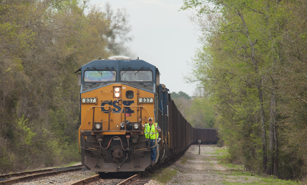 CSX coal train to Red Lever power plant (Crystal River, Fl.) changing crew south of Newberry, Fl.