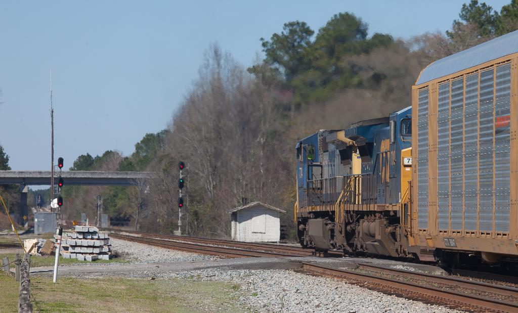 Westbound autorack train in Folkston, Ga.