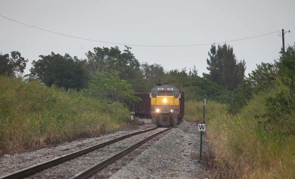Loaded USSC sugar cane train near the mill in Clewiston, Fl.