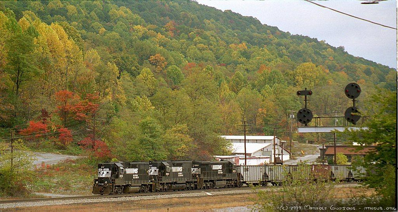 Empties returning to the coal fields at Bluefield, VA. 1999.