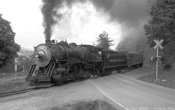 Western Maryland Scenic RR 734 at Helmstetter's Curve. 2002.