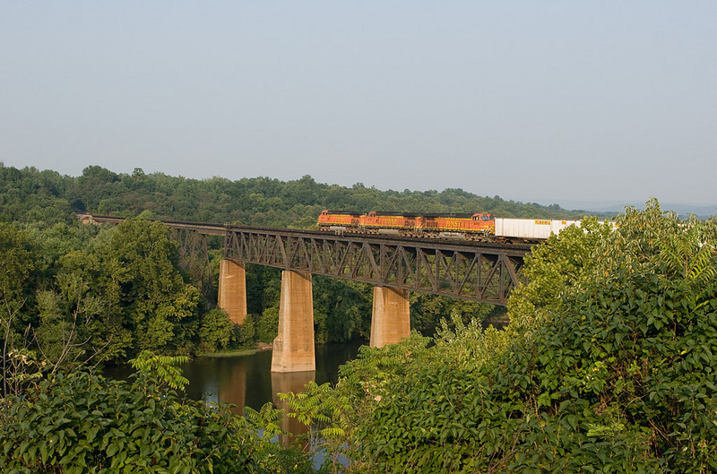 Norfolk Southern train 214 northbound crosses the Potomac River at Shepherdstown, WV.