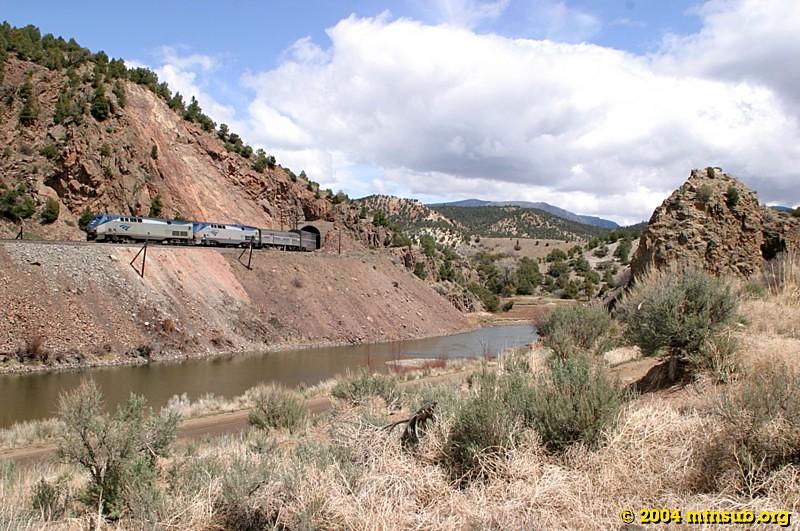 Amtrak #5, the California Zephyr, rolling into Radium, CO.