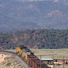 Fly me to the Moon! Empty coal cars negotiate the steep double horseshoe of the Craig Branch leaving the Colorado River valley. The cars at right are near the midpoint of the train.