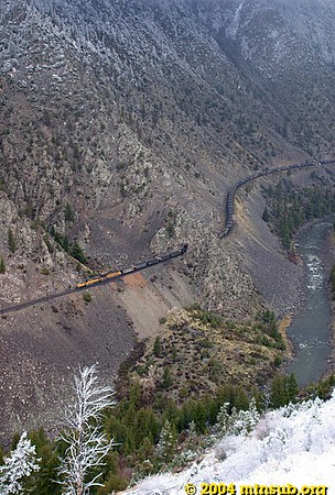 Pushers on an eastbound coal train in Gore Canyon. View from Inspiration Point.
