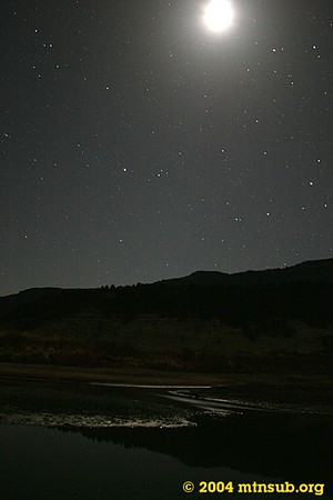 Moon and stars over the Colorado River at Rancho del Rio.