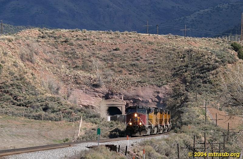 Westbound Denver-Grand Junction train leaving Bond on the Dotsero Cutoff.