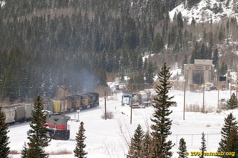 The east portal of Moffat Tunnel. In the siding are two new EMD SD70ACe units undergoing high-altitude testing.