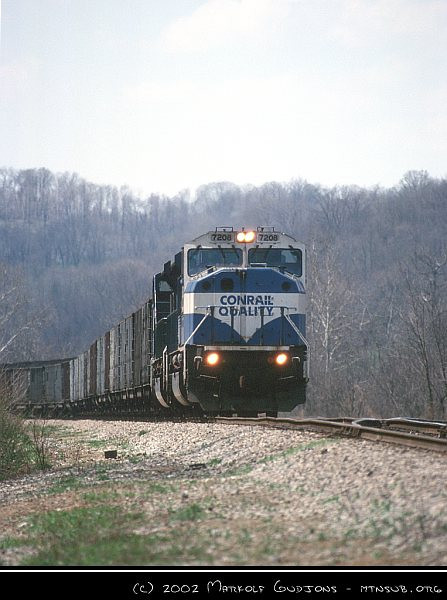 NS SD80MAC 7208 with coal drag near CP WOOD, 16-Apr-2002.