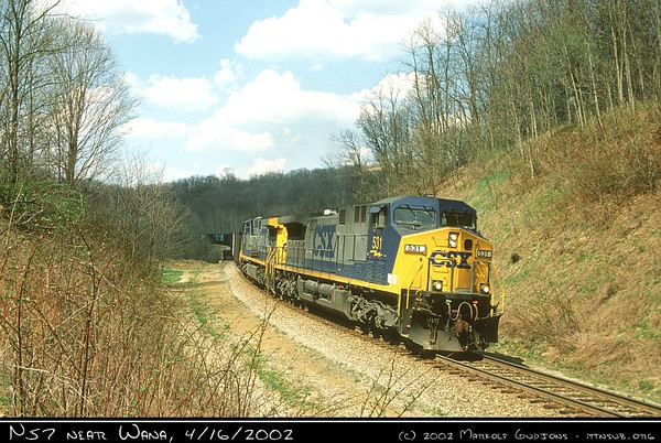 CSX 531 with N57, 16-Apr-2002.