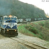NS SD80MAC 7208 with coal drag near CP WOOD, 16-Apr-2002.