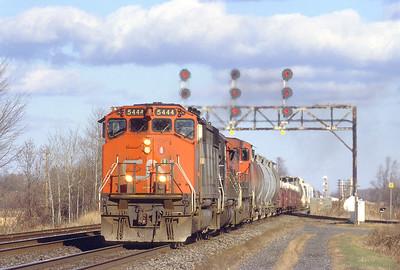 CN SD50F 5444 westbound in Coteau.