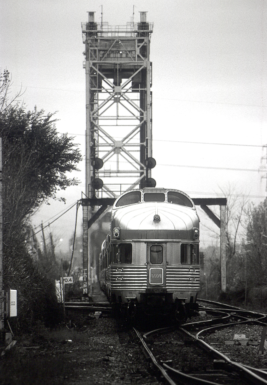 """Dome-observation car on the westbound """"Ocean"""" at Lemoyne."""