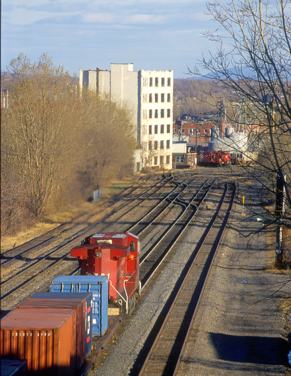 CP AC44CW 9721 arriving with an intermodal transfer for the Port of Montreal at Hochelaga Yard.