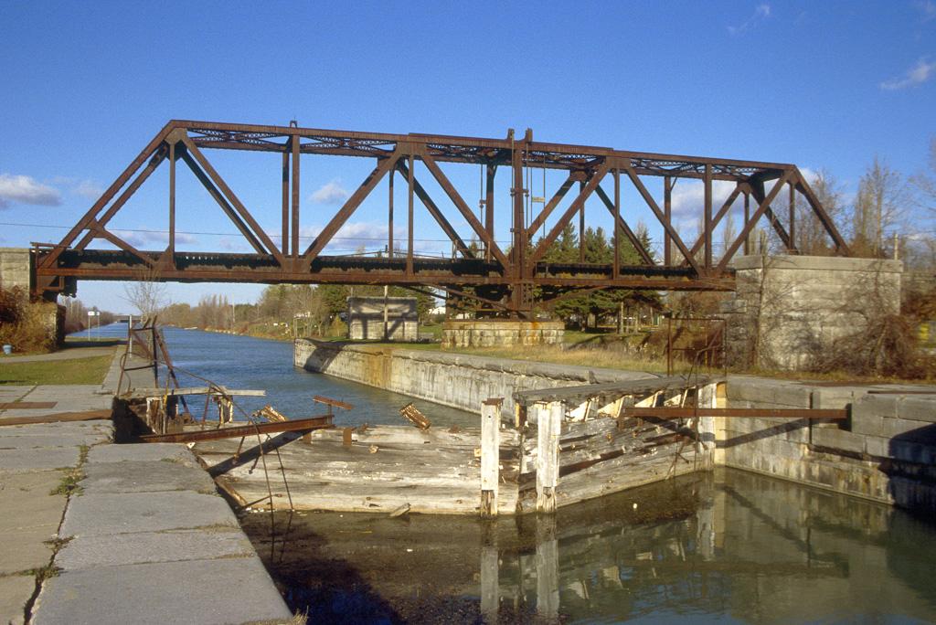 Canal lock and railroad swing bridge.