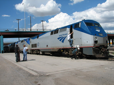 Locomotives of train parked at Albuquerque