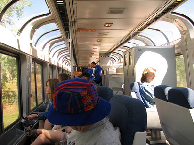 Enjoying the views in Amtrak observation car