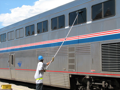 Cleaning train windows