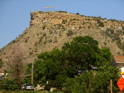 Trinidad Colorado town sign on bluff above town