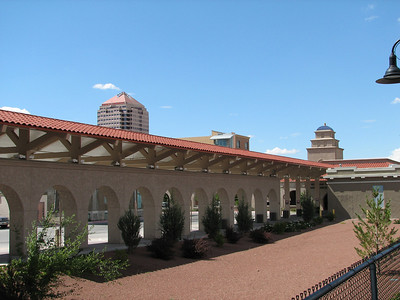 Part of Albuquerque Santa Fe train depot and downtown skyline.