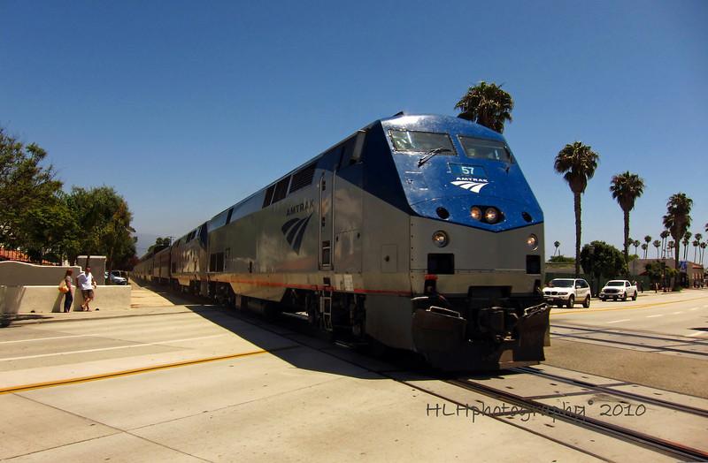 Amtrak, coming into Santa Barbara, CA