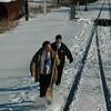 Amtrak crew freeing up frozen switch.
