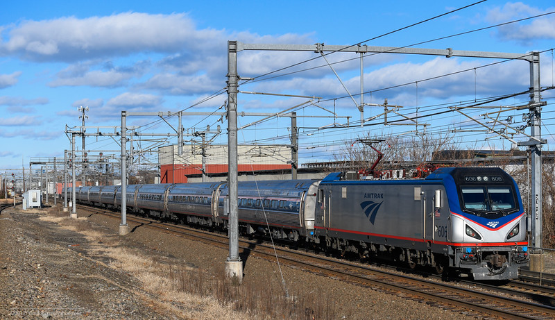 Amtrak 135 at Readville on the Sunday after Thanksgiving 2017.