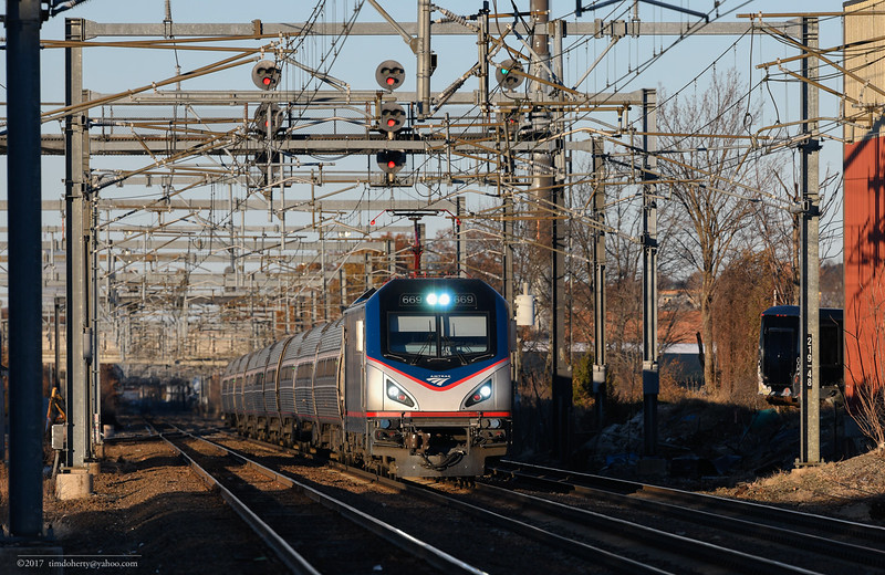 Amtrak train 165 with the 669 late in the afternoon at Readville on Sunday after Thankgiving.
