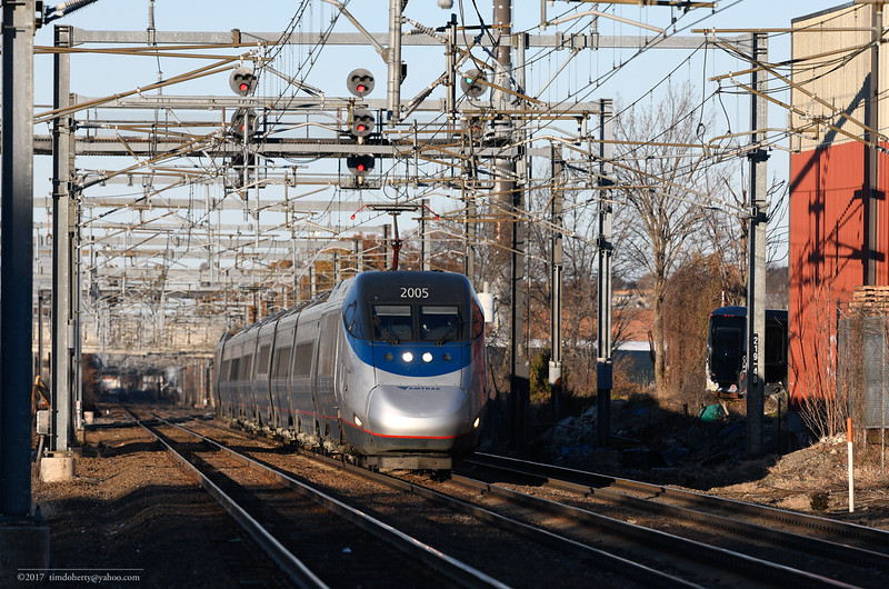Amtrak 2257 with the 2005 at Readville, 9 miles from South Station.