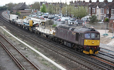 33029 'Glen Loy' approaches Eastleigh, passing the entrance to the depot it was based at for many years on the right, working 6Z33 1210 Totton Yard - Westbury 4/4/14
