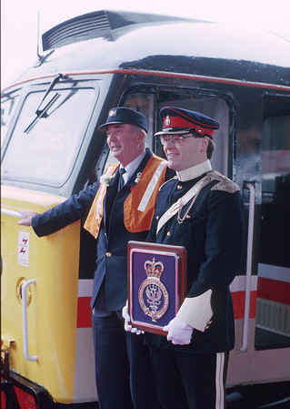 47528 was named 'Queen's Own Mercian Yeomanry' by the Queen at Worcester Shrub Hill station. Minutes after HM has departed for some function in town, I grab a shot of the driver and an officer from the T.A. 10/11/89